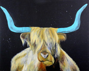 Norman (The Hoose Road Space Cow) Laura Schmitt Acrylic on canvas, 24