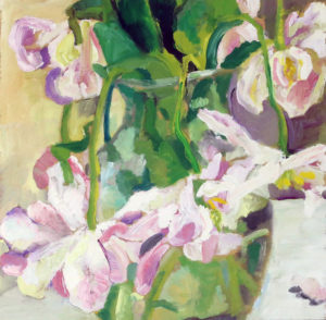 Falling Tulips Lara Scott oil on board, 10
