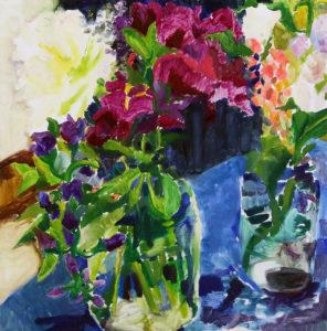 Summer Flowers, Kitchen Table Lara Scott oil on board, 12
