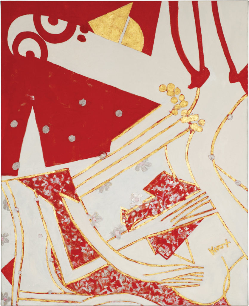 Knox Martin Woman with Red Shoes II 2010 Oil paint and gold leaf on linen 80