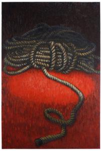 "Amy McKinnon Bound 2013 63"" x 41"" x 2.25"" Acrylic on canvas"