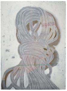 "Amy McKinnon Wind 2013 60"" x 45"" x 2.5"" Acrylic and oil on canvas"