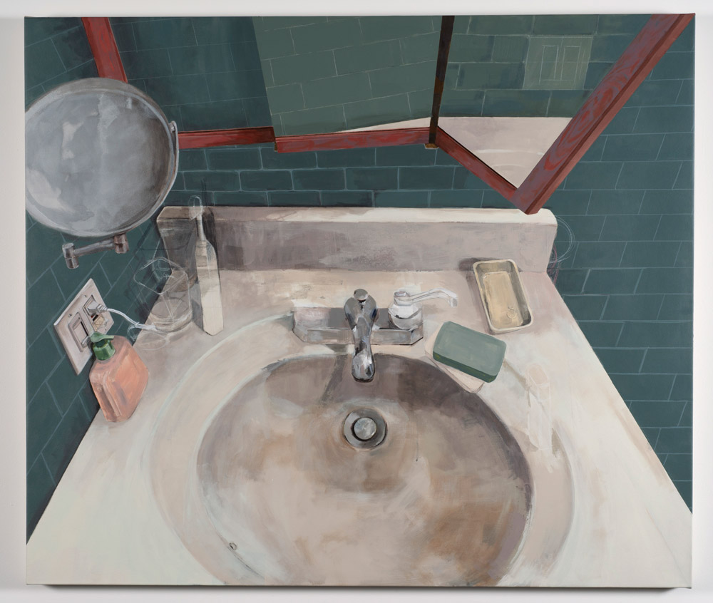 Something Wrong (2018)  Tania Alvarez  Acrylic and wax crayon on canvas 47