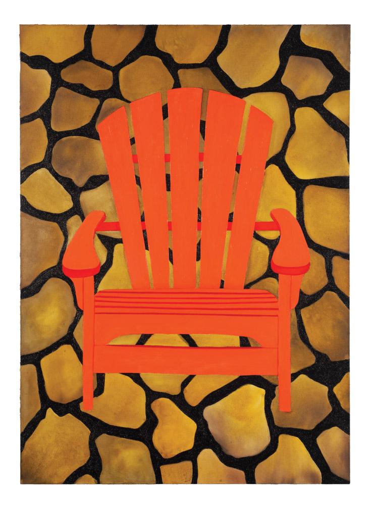 Orange Adirondack Chair (2018)  Minaa Mohsin  Acrylic on canvas 50