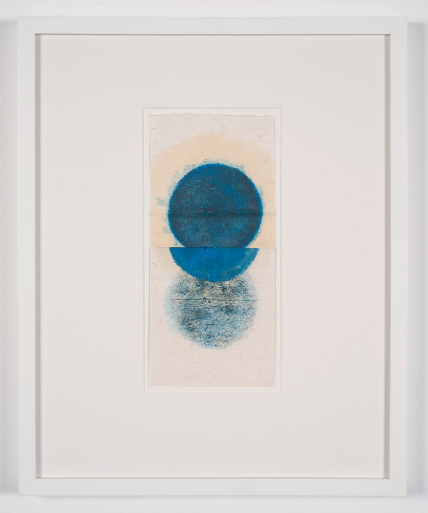 In the plane of the circle, #2 (2017)  Kazimira Rachfal  Oil on found handmade paper 12