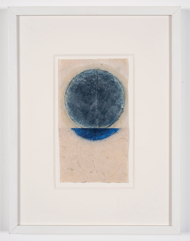 In the plane of the circle, #1 (2017)  Kazimira Rachfal  Oil on found handmade paper 9